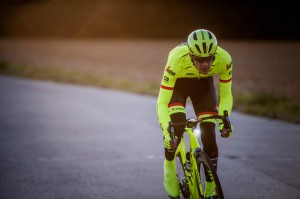 Jasper Stuyven in  Trek High Visibility apparel photoshoot  by Kristof Ramon